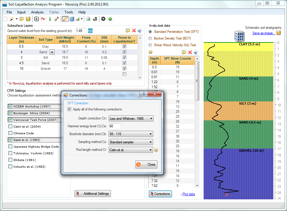 Click to view Liquefaction Analysis Program (NovoLiq) 2.19 screenshot